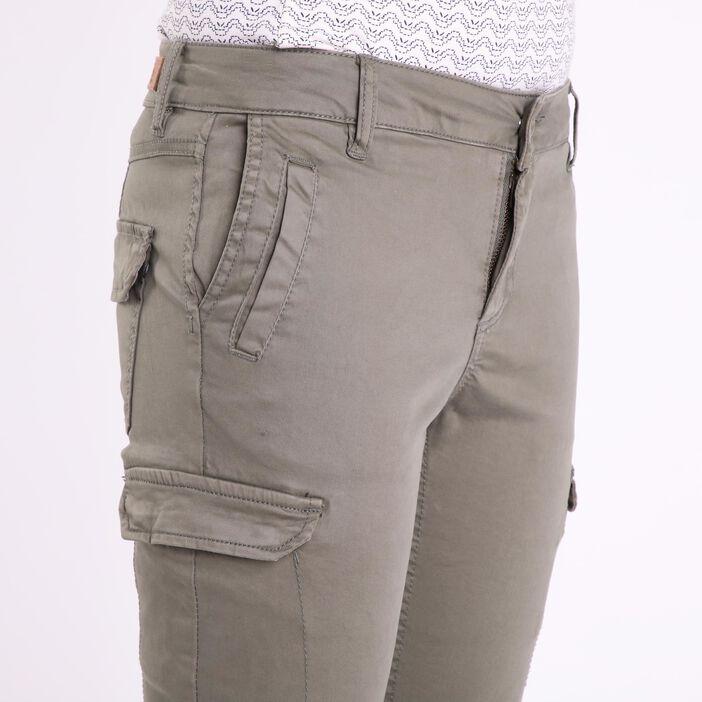 Pantalon skinny 7 poches vert kaki femme