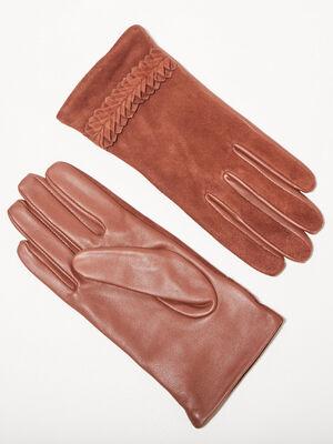 Gants details au poignet marron cognac femme