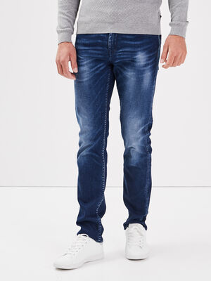 Jeans straight stone washed denim stone homme