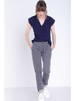 Pantalon carotte a ceinture denim stone femme