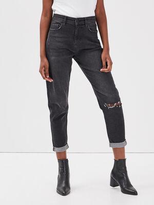 Jeans mom detail destroy denim noir femme