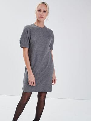 Robe droite manches courtes gris femme