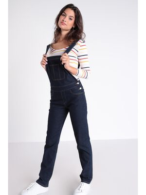 Salopette droite en jean denim brut femme
