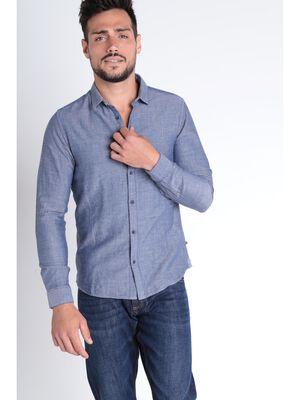 Chemise manches longues bleu gris homme