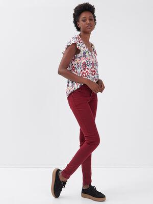 Pantalon skinny push up bordeaux femme