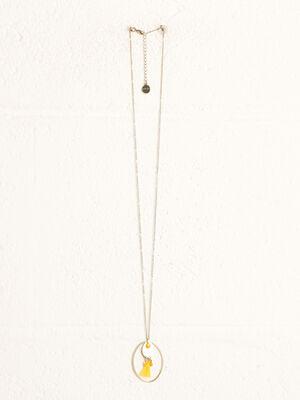 Collier avec pendentif arrondi jaune fluo femme