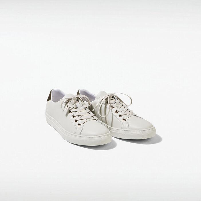 Baskets plates en cuir blanc homme