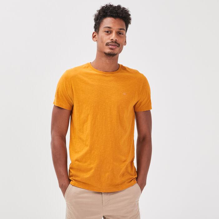 T-shirt Instinct col rond jaune moutarde homme
