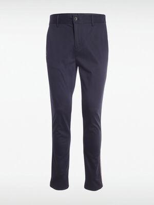 Pantalon chino bande laterale bleu marine homme
