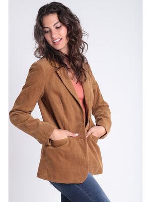 Veste tailleur cintree velours marron femme