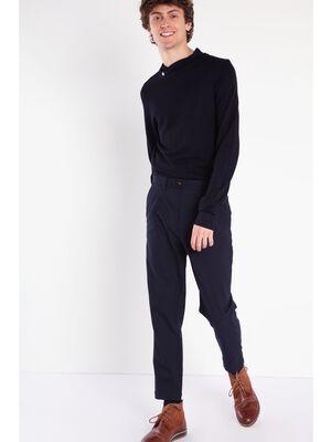 Pantalon chino loose a pinces bleu marine homme