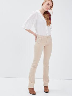 Pantalon bootcut beige femme