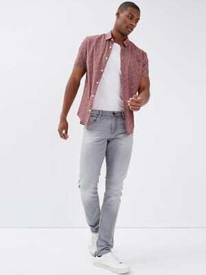 Jeans slim effet used denim gris homme