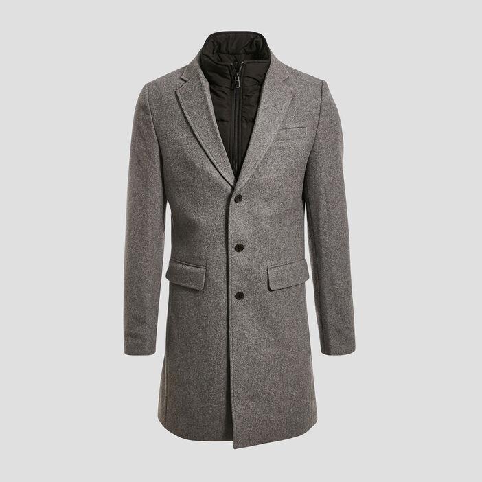 Manteau droit à parmenture gris foncé homme