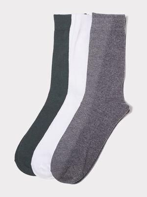 Lot 3 paires de chaussettes unies vert canard homme