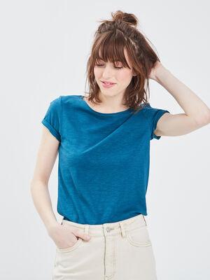 T shirt eco responsable bleu canard femme