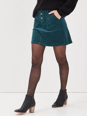 Jupe droite velours cotele vert canard femme