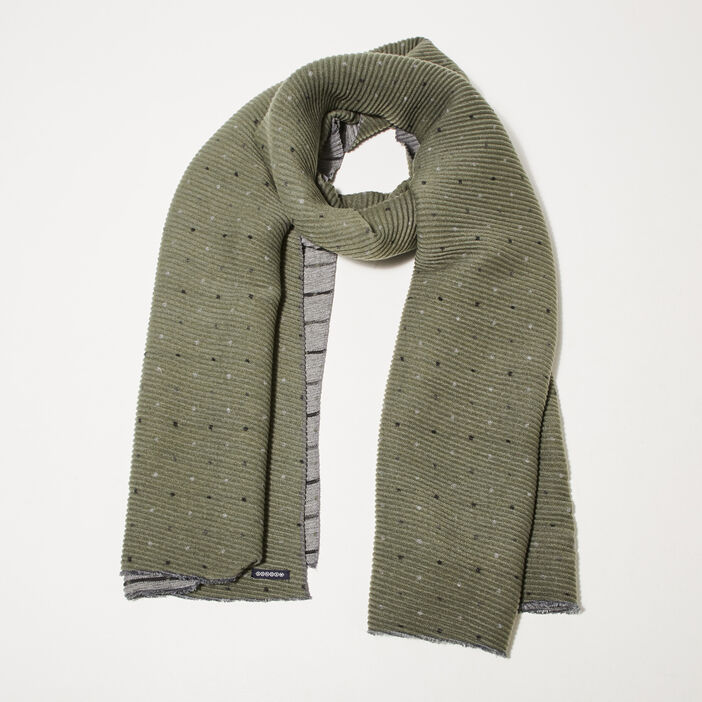 Foulard en maille gaufrée imprimée vert kaki femme