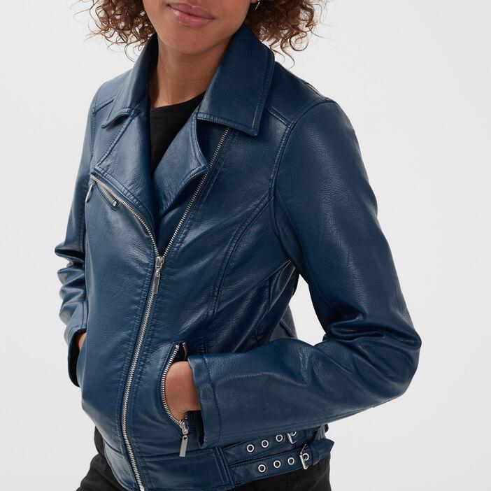 Veste esprit biker droite bleu marine femme