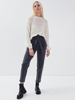 Jeans carotte ceinture denim gris femme