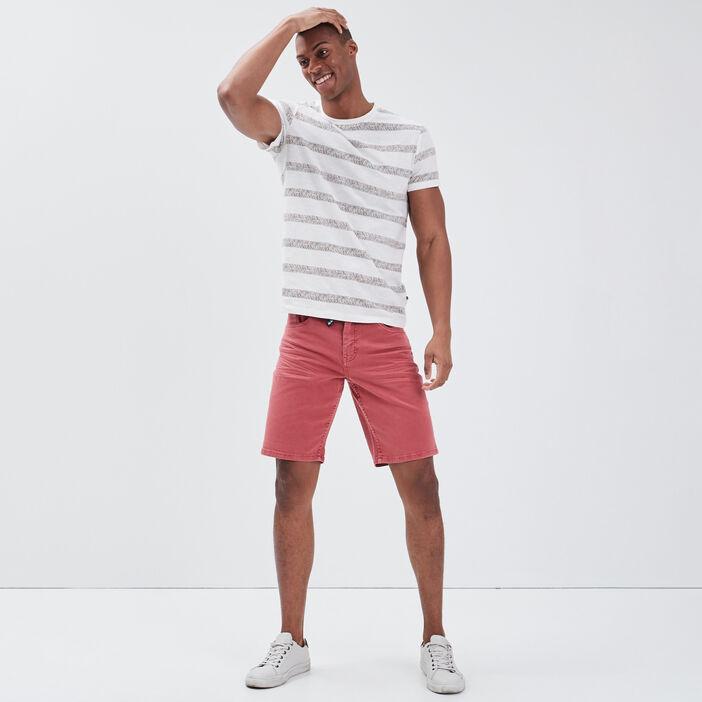 Bermuda droit en jean vieux rose homme