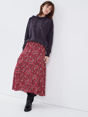 Jupe longue imprimee rouge fonce femme