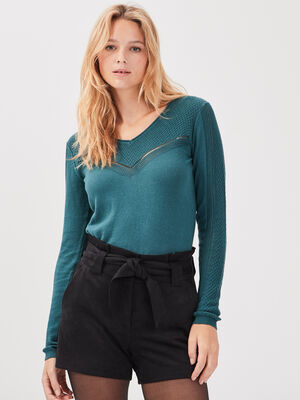 Pull manches longues ajoure vert canard femme