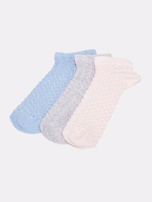 Lot 3 paires chaussettes bleu gris femme