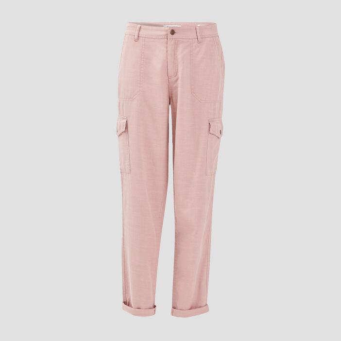 Pantalon cargo taille standard vieux rose femme