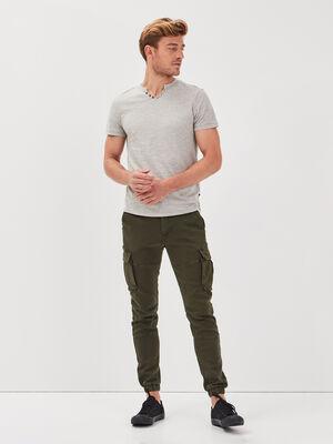 Pantalon cargo taille a cordon vert kaki homme