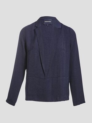 Veste droite fuide bleu fonce femme