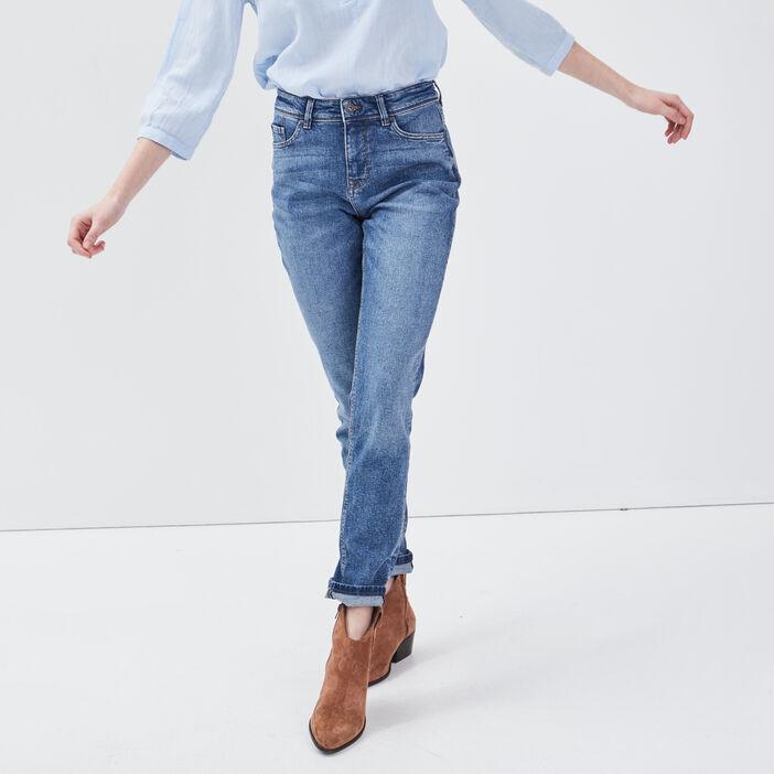 Jeans slim taille haute denim stone femme