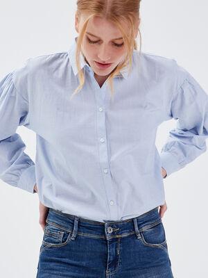 Chemise manches longues bleu clair femme