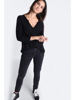 Pantalon skinny a 5 poches denim noir femme