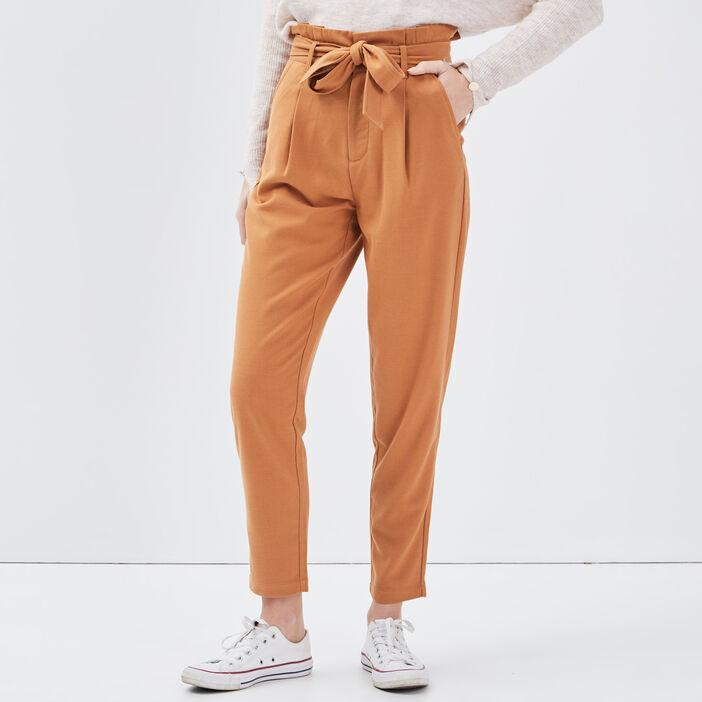 Pantalon paperbag marron femme