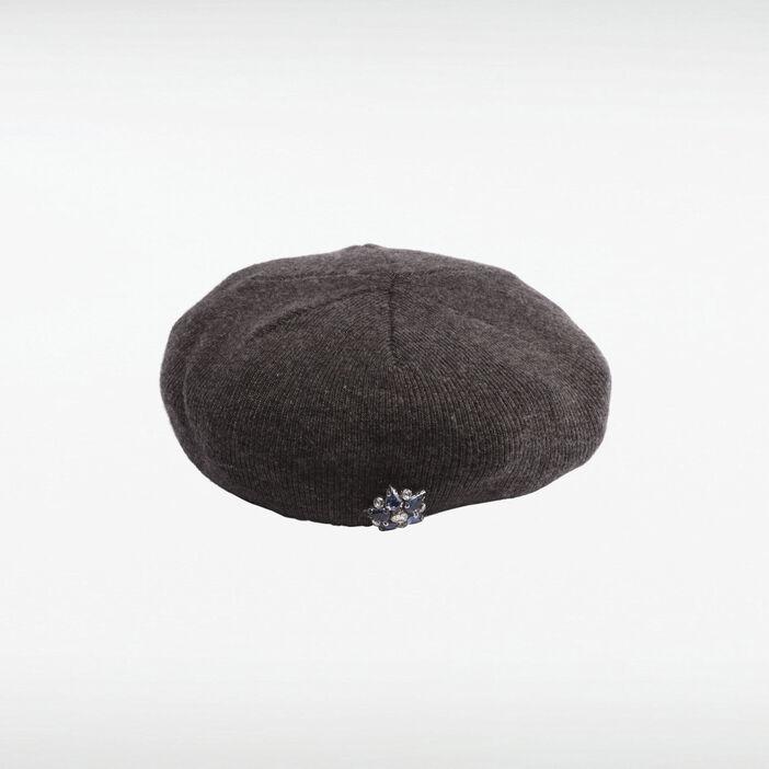 Bonnet détail bijoux gris foncé femme