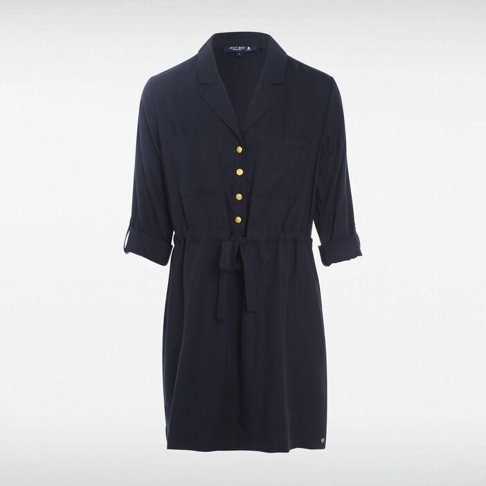 Robe droite taille coulisse noir femme