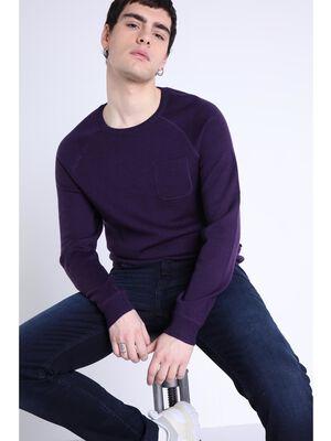 Tricot manches longues raglan violet fonce homme