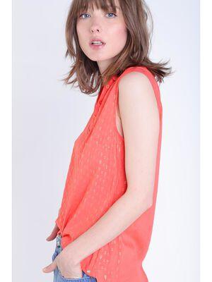Blouse sans manches col polo orange corail femme