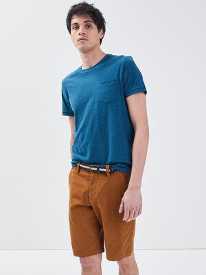 Bermuda chino ceinture marron homme