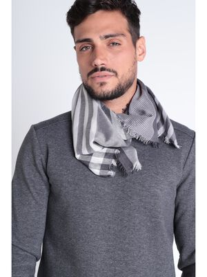 Foulard a franges gris fonce homme