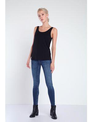 Jeans skinny poches zippees denim brut femme