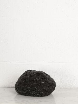 Headband tricot a bijou noir femme