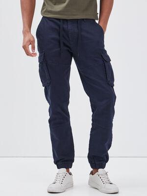 Pantalon cargo taille a cordon bleu fonce homme