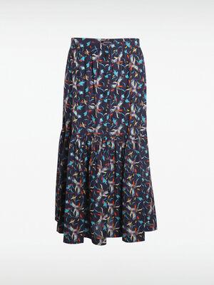 Jupe evasee taille standard bleu marine femme