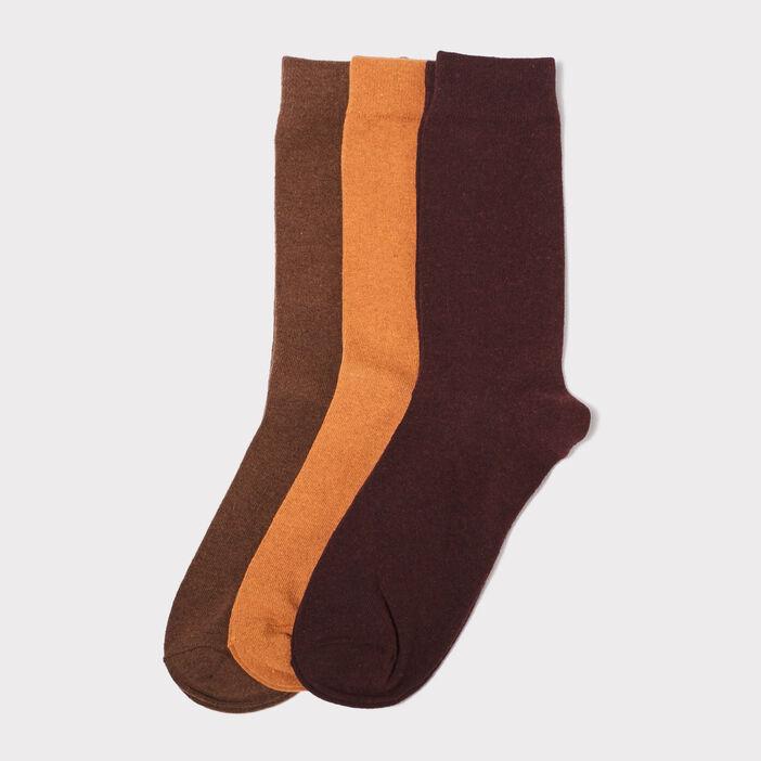 Lot 3 paires de chaussettes unies jaune moutarde homme