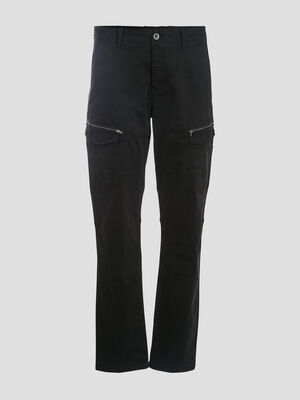 Pantalon battle details zippes noir homme