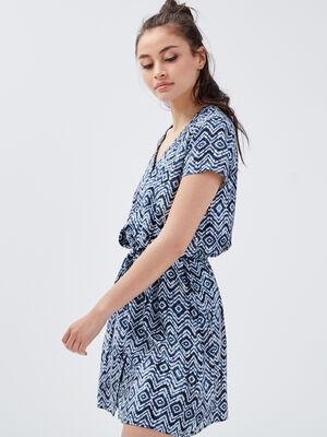Robe droite fluide ceinturee bleu femme