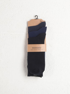 Lot 3 paires de chaussettes unies bleu marine homme