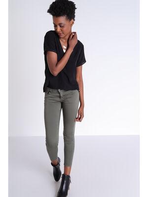 Pantalon skinny vert kaki femme